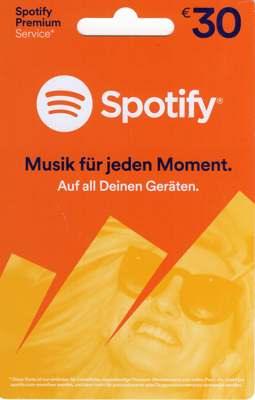 Spotify Guthaben 30 Euro Code