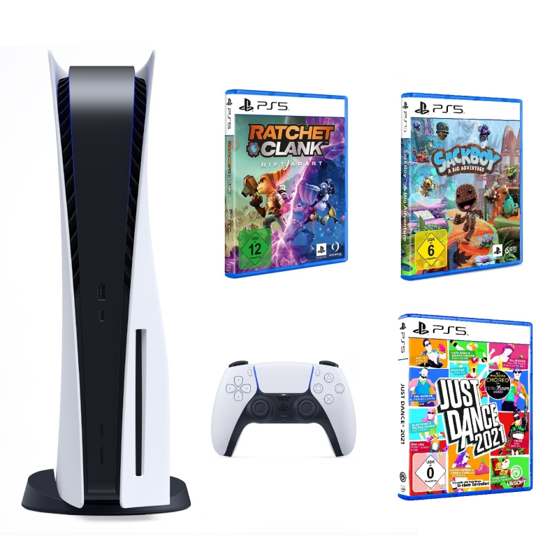 Sony PlayStation 5 Family Pack 1 (inkl. Ratchet & Clank: Rift Apart + Sackboy: A Big Adventure + Just Dance 2021)
